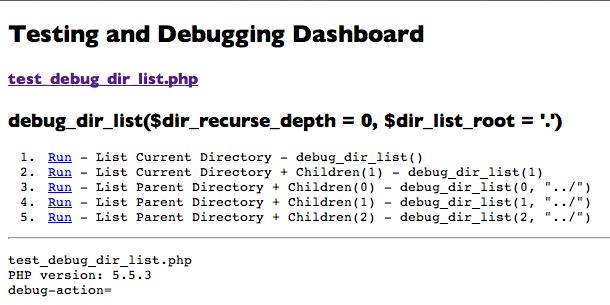 test_debug_dir_list.php in browser no links chosen