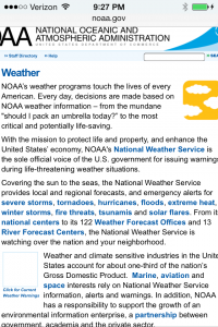 NOAA Weather Page IPhone